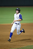 Adam Engel (7) of the Winston-Salem Dash hustles towards third base against the Wilmington Blue Rocks at BB&T Ballpark on July 30, 2015 in Winston-Salem, North Carolina.  The Dash defeated the Blue Rocks 7-3.  (Brian Westerholt/Four Seam Images)