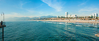 Santa Monica CA, beach, Skyline, Cityscape, Beautiful, Clear Day, Panorama, Santa Monica, California, United States of America, North America