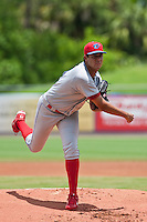 Heitor Correa  (41) of the Clearwater Threshers during a game vs. the St. Lucie Mets May 30 2010 at Digital Domain Park, Port St. Lucie Florida. St. Lucie won the game against Clearwater by the score of 3-2. Photo By Scott Jontes/Four Seam Images