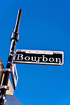 Bourbon Street sign in the French Quarter of New Orleans, Louisiana.