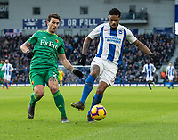 Brighton & Hove Albion's Jurgen Locadia (right) under pressure from Watford's Daryl Janmaat (left) <br /> <br /> Photographer David Horton/CameraSport<br /> <br /> The Premier League - Brighton and Hove Albion v Watford - Saturday 2nd February 2019 - The Amex Stadium - Brighton<br /> <br /> World Copyright © 2019 CameraSport. All rights reserved. 43 Linden Ave. Countesthorpe. Leicester. England. LE8 5PG - Tel: +44 (0) 116 277 4147 - admin@camerasport.com - www.camerasport.com