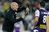 November 4th 2017, nib Stadium, Perth, Australia; A-League football, Perth Glory versus Adelaide United; Glory coach Kenny Lowe gets animated giving instructions to Xavi Torres