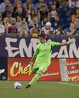 New England Revolution goalkeeper Bobby Shuttleworth (34). In a Major League Soccer (MLS) match, the New England Revolution tied New York Red Bulls, 2-2, at Gillette Stadium on August 20, 2011.