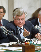"Washington, DC - (FILE) -- United States Senator Edward M. ""Ted"" Kennedy (Democrat of Massachusetts) questions Professor Anita Hill during the confirmation hearing before the U.S. Senate Judiciary Committee for Clarence Thomas, who was nominated by U.S. President George H.W. Bush to be an Associate Justice of the U.S. Supreme Court on October 10, 1991..Credit: Arnie Sachs / CNP"