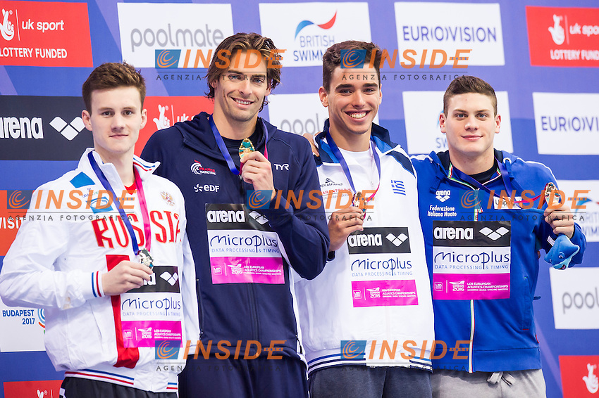 Podium LACOURT Camille FRA gold medal, TARASEVICH Grigory RUS silver medal, SABBIONI Simone ITA bronze medal, CHRISTOU Apostolos GRE bronze medal<br /> London, Queen Elizabeth II Olympic Park Pool <br /> LEN 2016 European Aquatics Elite Championships <br /> Swimming<br /> Men's 100m backstroke final <br /> Day 09 17-05-2016<br /> Photo Giorgio Perottino/Deepbluemedia/Insidefoto