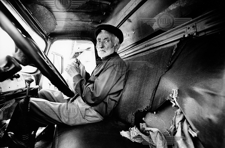 An old farmer about to start a truck journey from Nagorno Karabakh to Armenia proper. Nagorno Karabakh is an enclave of Armenia completely surrounded by Azerbaijan.
