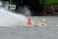 Frame 20: 300-P comes together with 911-Q, turns away and then is ejected from the boat.   (Outboard Hydroplanes)