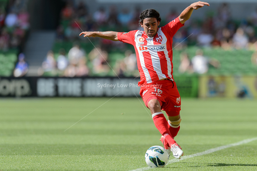 MELBOURNE - 6 JAN: David WILLIAMS of the Heart controls the ball in the round 15 A-League match between the Melbourne Heart and Brisbane Roar at AAMI Park on 6 January 2013. (Photo Sydney Low/syd-low.com/Melbourne Heart)