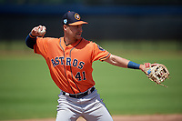Houston Astros third baseman Trey Dawson (41) throws to first during a Minor League Spring Training Intrasquad game on March 28, 2019 at the FITTEAM Ballpark of the Palm Beaches in West Palm Beach, Florida.  (Mike Janes/Four Seam Images)
