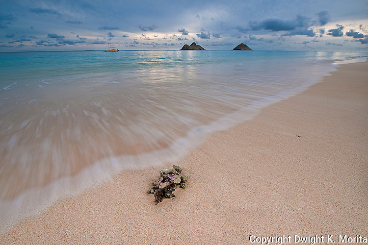 "Incoming tide at dawn on Lanikai Beach with the Mokulua Islands in the background. This photo was used in the June 2009 issue of Coastal Living Magazine in an opening spread on the best ""Secret Beaches"""