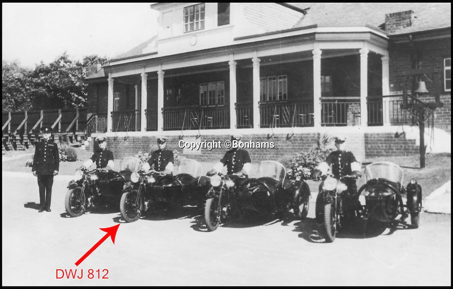 BNPS.co.uk (01202 558833)<br /> Pic: Bonhams/BNPS<br /> <br /> Sheffield Police line-up with the bike second from left.<br /> <br /> When the Cops could outrun the Robbers...<br /> <br /> An exceptionally rare monster of a motorcycle that was used by police forces between the two wars has emerged at auction. <br /> <br /> Despite looking like something you might find at a Hells Angels rally, the Brough Superior 11-50 was driven by British policemen who would carry their partners in a sidecar. <br /> <br /> This 1937 example was used by Sheffield Police while the same model was also purchased by forces in Australia and Canada. <br /> <br /> With an enormous 1096cc V-twin engine the machine could comfortably pull a heavy sidecar at 70mph, or travel 85mph on its own.