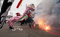 Lion Dance and Fireworks, Chinese Lunar New Year, Chinatown, Seattle, WA, USA.