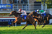 Winner of The Derek Burridge Golf & Racing Trophies Handicap Twenty Years On (red/white) ridden by Finley Marsh and trained by Richard Hughes  during Evening Racing at Salisbury Racecourse on 25th May 2019