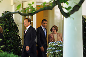 Washington, DC - May 19, 2009 -- Governor Arnold Schwarzenegger (Republican of California), left, United States President Barack Obama, center, and Speaker of the House Nancy Pelosi (Democrat of California) depart the Oval Office of the White House after meeting regarding auto efficiency and emissions in Washington on Tuesday, May 19, 2009..Credit: Michael Reynolds - Pool via CNP