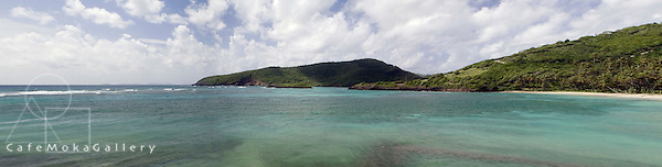 Panoramic shot of Spring bay, Bequia in the morning