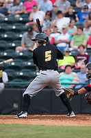 Kevin Newman (5) of the West Virginia Power at bat against the Hickory Crawdads at L.P. Frans Stadium on August 15, 2015 in Hickory, North Carolina.  The Power defeated the Crawdads 9-0.  (Brian Westerholt/Four Seam Images)