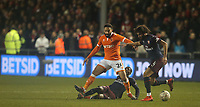 Blackpool's Liam Feeney battles with Arsenal's Ainsley Maitland-Niles (grounded) and Mohamed Elneny<br /> <br /> Photographer Stephen White/CameraSport<br /> <br /> Emirates FA Cup Third Round - Blackpool v Arsenal - Saturday 5th January 2019 - Bloomfield Road - Blackpool<br />  <br /> World Copyright © 2019 CameraSport. All rights reserved. 43 Linden Ave. Countesthorpe. Leicester. England. LE8 5PG - Tel: +44 (0) 116 277 4147 - admin@camerasport.com - www.camerasport.com