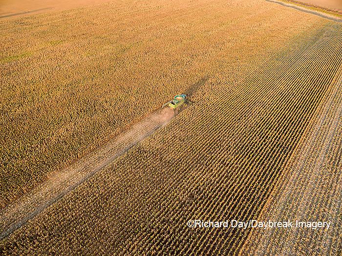 63801-08605 Corn Harvest, John Deere combine harvesting corn - aerial Marion Co. IL