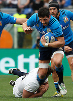 Rugby, Torneo delle Sei Nazioni: Italia vs Inghilterra. Roma, 14 febbraio 2016.<br /> Italy&rsquo;s Alessandro Zanni, right, is tackled by England&rsquo;s George Kruis during the Six Nations rugby union international match between Italy and England at Rome's Olympic stadium, 14 February 2016.<br /> UPDATE IMAGES PRESS/Riccardo De Luca
