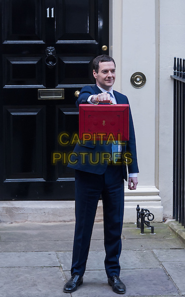 LONDON, ENGLAND - MARCH 16: Chancellor George Osborne George Osborne leaves No11 Downing Street to deliver his eighth Budget He will set out &pound;4bn in extra spending cuts and announce investment in the UK's infrastructure when he presents his Budget to MPs, London. <br /> CAP/JOR<br /> &copy;JOR/Capital Pictures