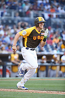Hunter Dozier of the USA Team runs to first base during a game against the World Team during The Futures Game at Petco Park on July 10, 2016 in San Diego, California. World Team defeated USA Team, 11-3. (Larry Goren/Four Seam Images)