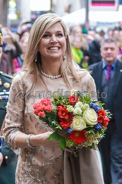 13 April 2016 - Munich, Germany - The Dutch Royal couple King Willem-Alexander and Queen Maxima pass Marienplatz with Mayor Dieter Reiter and his wife Petra from the New City Hall over to the Old City Hall of Munich. Photo Credit: Nickels/face to face/AdMedia