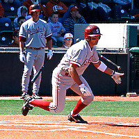 AUSTIN, TEXAS-March 5, 2011:  Shortstop Kenny Diekroeger of Stanford hits a single during the game against the Texas Longhorns, at Disch-Falk field in Austin, Texas.  Stanford defeated Texas 9-2.