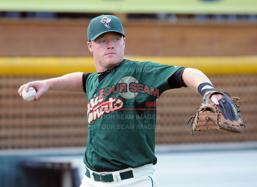 Catcher Blake Forsythe (11) of the Savannah Sand Gnats, Class A affiliate of the New York Mets, prior to a game against the West Virginia Power on July 21, 2011, at Grayson Stadium in Savannah, Georgia. (Tom Priddy/Four Seam Images)