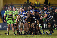 Beno Obano of Bath Rugby is congratulated after a strong Bath scrum. Anglo-Welsh Cup Semi Final, between Bath Rugby and Northampton Saints on March 9, 2018 at the Recreation Ground in Bath, England. Photo by: Patrick Khachfe / Onside Images