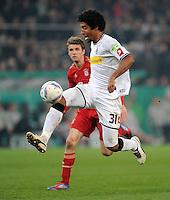 FUSSBALL   DFB POKAL   SAISON 2011/2012   HALBFINALE   21.03.2012 Borussia Moenchengladbach - FC Bayern Muenchen  Dante (lBorussia Moenchengladbach) am Ball