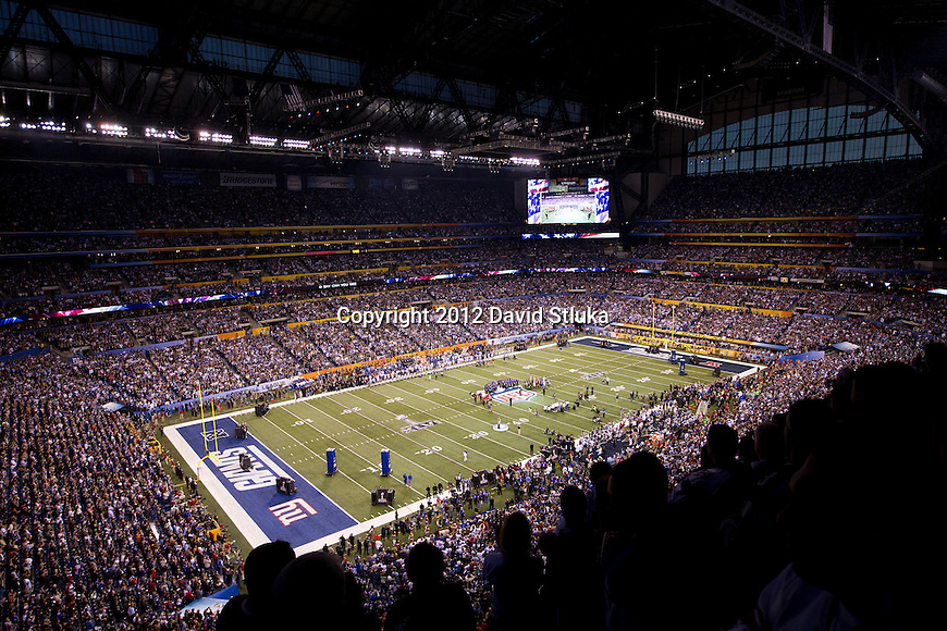 A general view of Lucas Oil Stadium during the National Anthem of the NFL Super Bowl XLVI football game between the New York Giants and the New England Patriots on Sunday, Feb. 5, 2012, in Indianapolis. The Giants won 21-17 (AP Photo/David Stluka)...