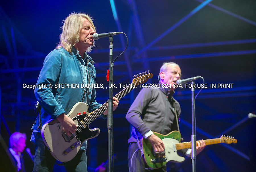 Status Quo Rick Parfitt, Francis Rossi on Stage Holkham Hall, Norfolk<br />  *NO INTERNET USE PERMITTED*  PRINT MEDIA ONLY<br /> &gt;<br /> DANPIC's; Photo by &copy; Stephen Daniels 23/08/2014 <br /> Rick Parfitt returns to the sage after his hart attack, play a concert - Holkham Hall, Norfolk with Status Quo.<br /> <br /> Minimum Fee &pound;200.00+vat<br /> &gt;<br /> All images supplied under the terms and condition of <br /> Stephen Daniels and not publication which use them.<br /> All images which is the copyright of Stephen Daniels<br /> and/or DANPICS are supplied under the terms and <br /> condition of Stephen Daniels<br /> &gt;<br /> Words by Medialincs Tel 07933 676119 Richard Vamplew