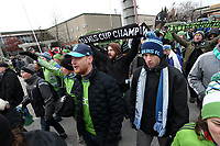 Toronto, Ontario - Saturday December 09, 2017: Seattle fans march into the stadium before the game. Toronto FC defeated the Seattle Sounders FC 2-0 in MLS Cup 2017, Major League Soccer's (MLS) championship game played at BMO Field.