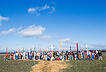 All the  rocketeers line up at a rocket launch at an amateur rocket festival..Manchester, Tennessee.
