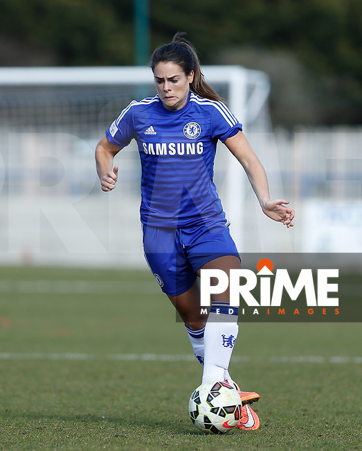 Claire Rafferty of Chelsea Ladies on the ball during the Women's FA Cup 5th Round match between Chelsea Ladies and Watford Ladies at Wheatsheaf Park, Staines, England on 22 March 2015. Photo by Andy Rowland.