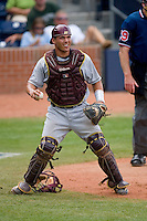 Catcher Tony Sanchez #26 of the Boston College Eagles on defense versus the Miami Hurricanes at Durham Bulls Athletic Park May 22, 2009 in Durham, North Carolina.  (Photo by Brian Westerholt / Four Seam Images)