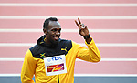 Usain Bolt (JAM) salutes the crowd. Medal ceremony podium. IAAF world athletics championships. London Olympic stadium. Queen Elizabeth Olympic park. Stratford. London. UK. 06/08/2017. ~ MANDATORY CREDIT Garry Bowden/SIPPA - NO UNAUTHORISED USE - +44 7837 394578