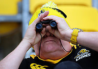 A fan watches the Heartland Championship rugby match between Horowhenua Kapiti and Wairarapa Bush at Westpac Stadium in Wellington, New Zealand on Sunday, 1 October 2017. Photo: Dave Lintott / lintottphoto.co.nz