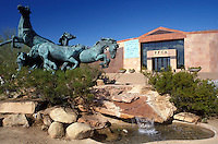 Scottsdale, Arizona, AZ, Wild horse statue outside the Fleischer Museum in Scottsdale.