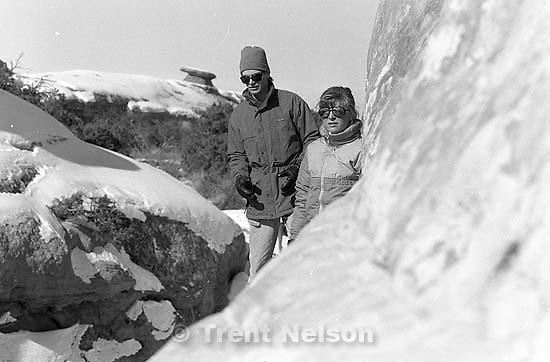 Laura Nelson and Alex Van Valin at Arches National Park.<br />