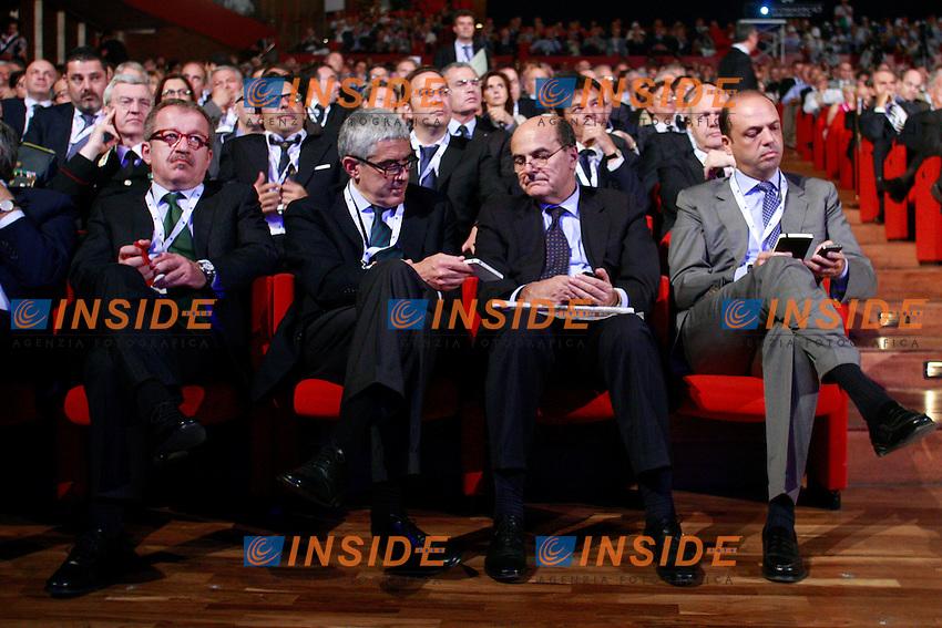 Roberto Maroni, Pier Ferdinando Casini, Pierluigi Bersani e Angelino Alfano.Roma 21/06/2012 Auditorium della Conciliazione. Assemblea Annuale di Confcommercio 2012..Photo Samantha Zucchi Insidefoto