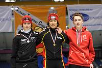 SCHAATSEN: HEERENVEEN: Thialf, Viking Race, 18-03-2011, Podium Boys15 500m, Arvin Wijsman (NED), Kai Verbij (NED), Johan Jørgen Saeves (NOR), ©foto Martin de Jong