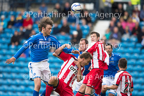 Kilmarnock v St Johnstone...11.08.13 SPFL<br /> Murray Davidson gets above the Killie defence but heads wide<br /> Picture by Graeme Hart.<br /> Copyright Perthshire Picture Agency<br /> Tel: 01738 623350  Mobile: 07990 594431