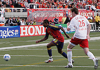 Jeff Cunningham (74) chases down a  pass from Taylor Graham (26) in the New York Red Bulls vs. Real Salt Lake 1-1 tie at Rice Eccles Stadium in Salt Lake City, Utah April 15, 2006