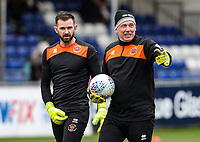 Blackpool's Mark Howard with goalkeeping coach Dave Timmins<br /> <br /> Photographer Andrew Kearns/CameraSport<br /> <br /> The EFL Sky Bet League Two - Bristol Rovers v Blackpool - Saturday 2nd March 2019 - Memorial Stadium - Bristol<br /> <br /> World Copyright © 2019 CameraSport. All rights reserved. 43 Linden Ave. Countesthorpe. Leicester. England. LE8 5PG - Tel: +44 (0) 116 277 4147 - admin@camerasport.com - www.camerasport.com