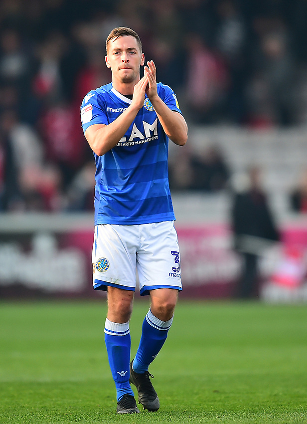 Macclesfield Town's David Fitzpatrick applauds the fans at the final whistle<br /> <br /> Photographer Andrew Vaughan/CameraSport<br /> <br /> The EFL Sky Bet League Two - Lincoln City v Macclesfield Town - Saturday 30th March 2019 - Sincil Bank - Lincoln<br /> <br /> World Copyright © 2019 CameraSport. All rights reserved. 43 Linden Ave. Countesthorpe. Leicester. England. LE8 5PG - Tel: +44 (0) 116 277 4147 - admin@camerasport.com - www.camerasport.com