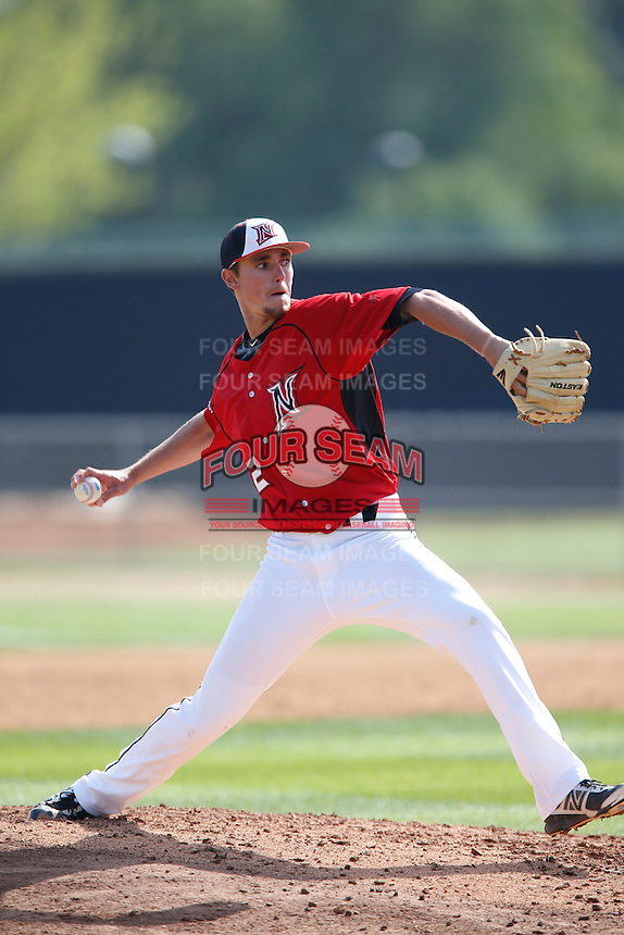 Brandon Warner #32 of the Cal State Northridge Matadors pitches against the University of San Diego Toreros at Matador Field on March 26, 2013 in Northridge, California. (Larry Goren/Four Seam Images)
