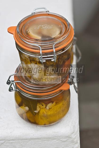 Europe/France/Bretagne/56/Morbihan/ Belle-Ile-en-Mer: Conserve artisanale de thon germon pêche au large de l'Ile, recettte  de  l'Hotel-Restaurant   Roz-Avel