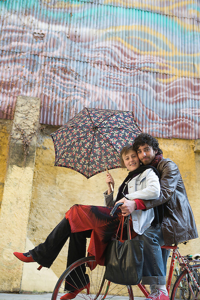 Maria Juncosa, left, and Ramiro de Resa, right, on the street in the Born neighborhood of Barcelona, Spain. Photo by Kevin J. Miyazaki/Redux
