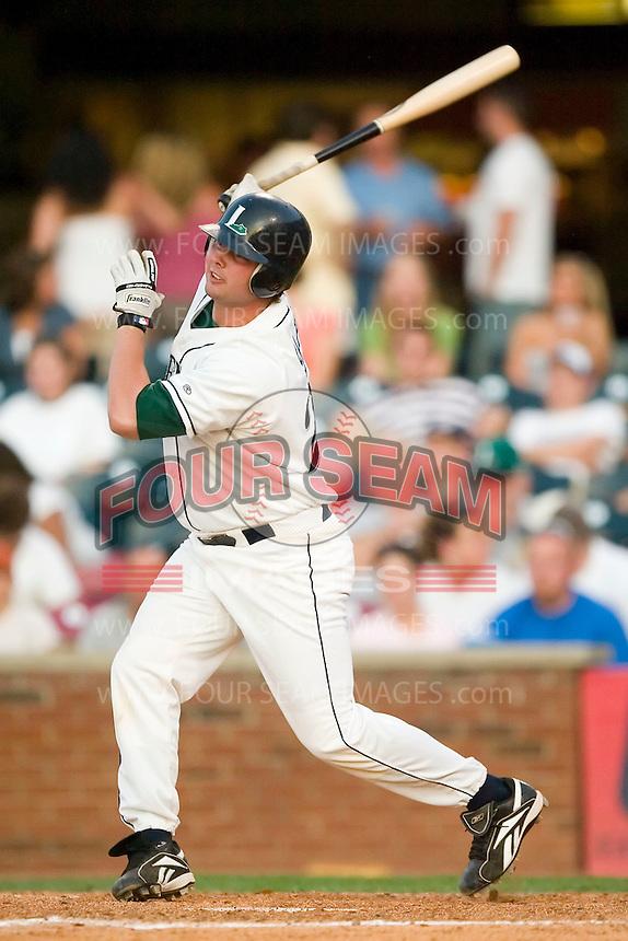 Lexington designated hitter Max Sapp (23) follows through on his swing versus West Virginia at Applebee's Park in Lexington, KY, Thursday, June 7, 2007.